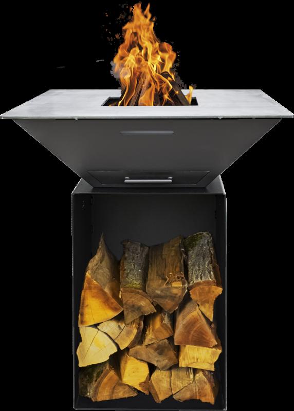 Feuerplatte Grill BigQube M Wood schwarz