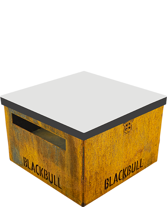 PiQoo-Holzkohlegrill mit Auflagebrett als Hocker oder Ablagefläche